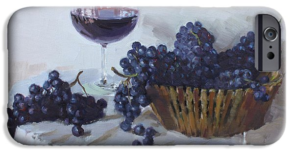 Wine Glasses Paintings iPhone Cases - Blue Grapes and Wine iPhone Case by Ylli Haruni