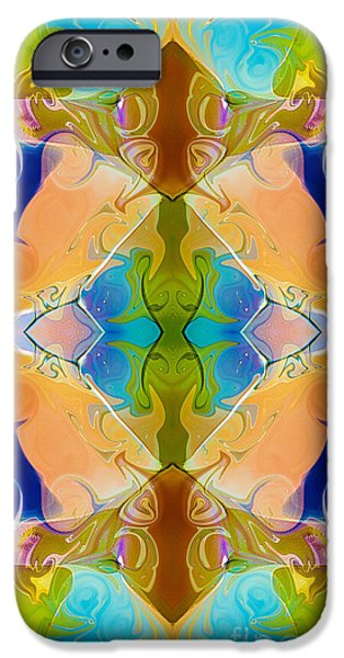Abstract Digital iPhone Cases - Blue Green Abstract Algea Patterned Artwork by Omaste WItkowski iPhone Case by Omaste Witkowski