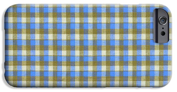 Weave iPhone Cases - Blue green And White Plaid Pattern Cloth Background iPhone Case by Keith Webber Jr