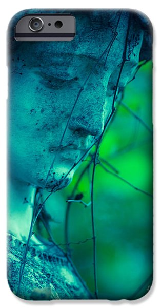 Angel Blues iPhone Cases - Blue Green Angel iPhone Case by Sonja Quintero