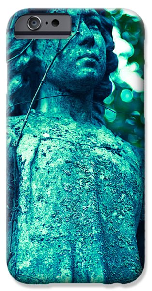 Headstones iPhone Cases - Blue Green Cemetery iPhone Case by Sonja Quintero