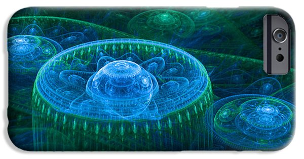 Abstract Digital Digital iPhone Cases - Blue green fantasy landscape iPhone Case by Martin Capek