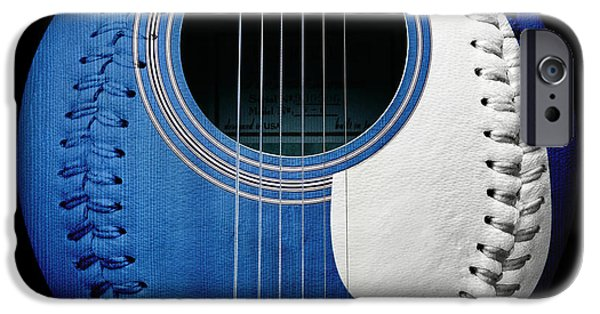 Baseball Art iPhone Cases - Blue Guitar Baseball White Laces Square iPhone Case by Andee Design