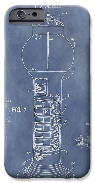 Toy Store Mixed Media iPhone Cases - Blue Gumball Machine Patent iPhone Case by Dan Sproul