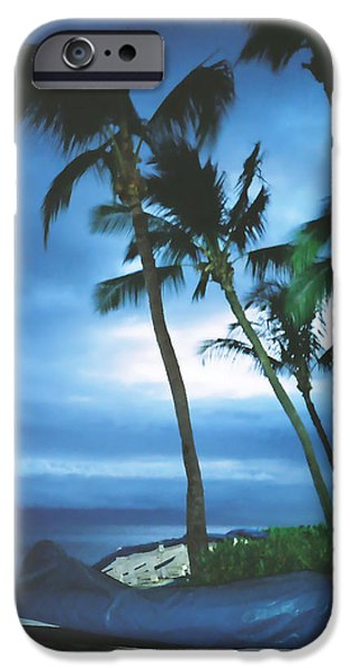 Blue Hawaii With Planets at Night iPhone Case by Connie Fox