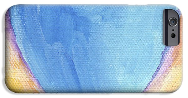 Abstract Expressionist Mixed Media iPhone Cases - Blue Heart iPhone Case by Linda Woods