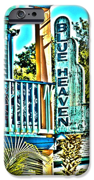 Balcony Photographs iPhone Cases - Blue Heaven in Key West - 1 iPhone Case by Susanne Van Hulst