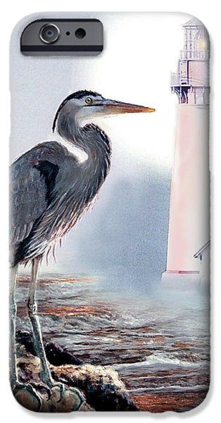 Blue heron In the circle of light iPhone Case by Gina Femrite