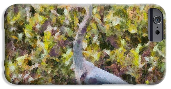 D Wade Paintings iPhone Cases - Blue Heron Painting iPhone Case by Dan Sproul