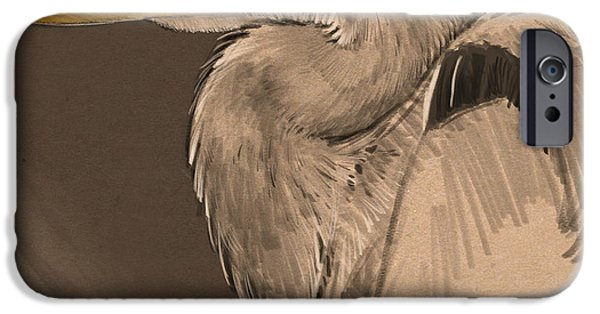 Blue Digital iPhone Cases - Blue Heron Sketch iPhone Case by Aaron Blaise