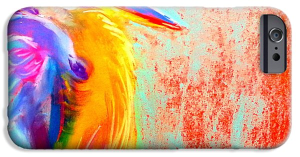 Pastel iPhone Cases - Funky Blue Heron Bird iPhone Case by Sue Jacobi