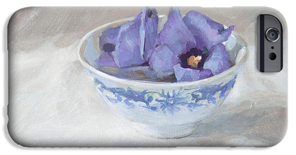 """indoor"" Still Life Paintings iPhone Cases - Blue hibiscus flower in chinese cup iPhone Case by Anke Classen"