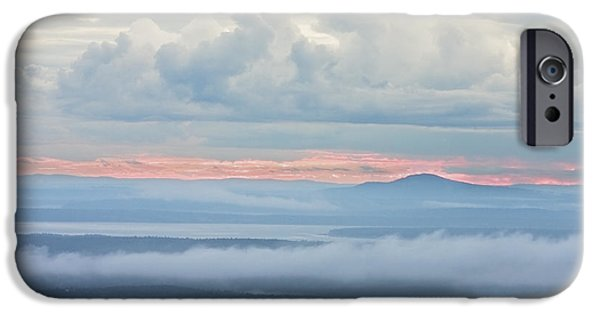 Fog Mist iPhone Cases - Blue Hill from Cadillac Mountain Acadia National Park iPhone Case by Keith Webber Jr
