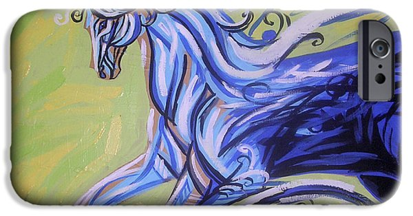 Esson iPhone Cases - Blue Horse iPhone Case by Genevieve Esson