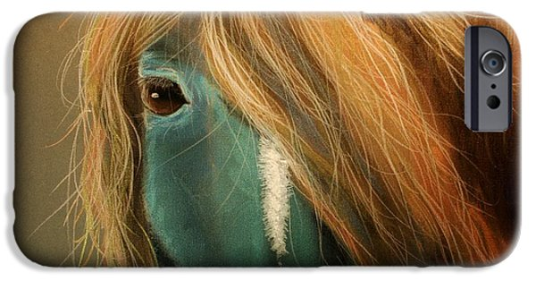 Colorful Abstract Pastels iPhone Cases - Blue Horse iPhone Case by Heather Gessell