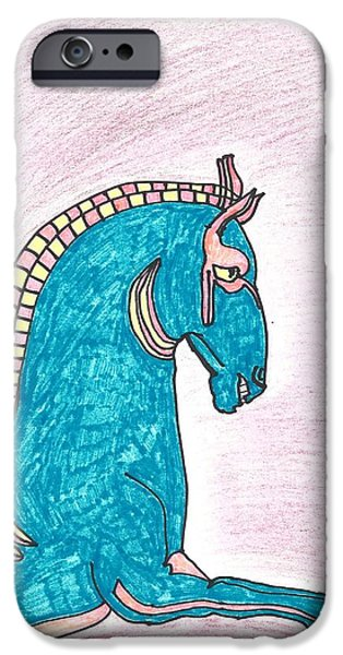 Statue Portrait Mixed Media iPhone Cases - Blue Horse of Shanghai iPhone Case by Don Koester
