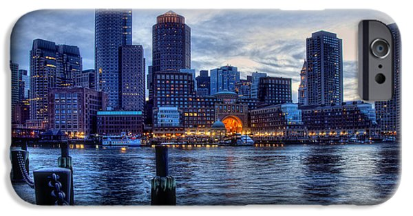 Boston Cityscape iPhone Cases - Blue Hour on Boston Harbor iPhone Case by Joann Vitali