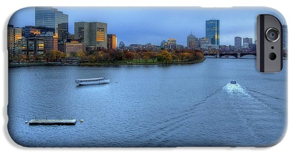 Boston Nightscape iPhone Cases - Blue Hour on the Charles iPhone Case by Joann Vitali
