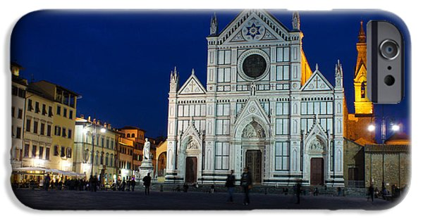 Santa iPhone Cases - Blue Hour - Santa Croce Church Florence Italy iPhone Case by Georgia Mizuleva