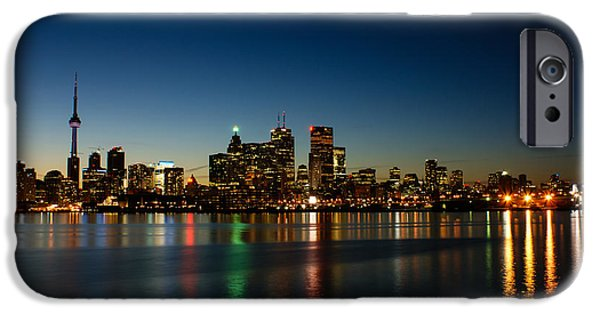 Business Photographs iPhone Cases - Blue Hour - Torontos Dazzling Skyline Reflecting in Lake Ontario iPhone Case by Georgia Mizuleva