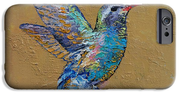 Michael Paintings iPhone Cases - Turquoise Hummingbird iPhone Case by Michael Creese