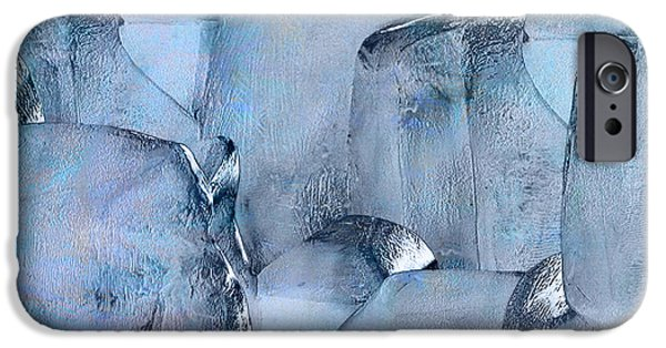 Abstract Expressionism iPhone Cases - Blue Ice iPhone Case by Jack Zulli