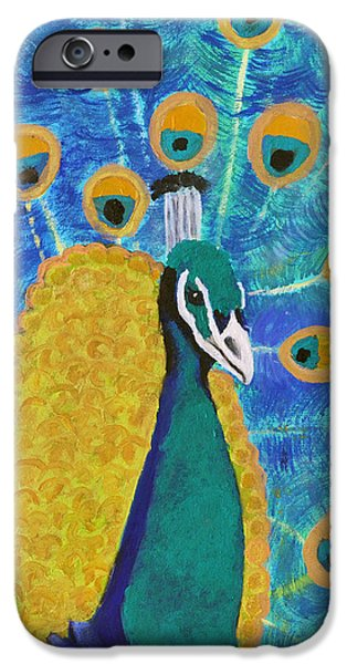 Young Paintings iPhone Cases - Blue Indian Peacok iPhone Case by Margaret Harmon