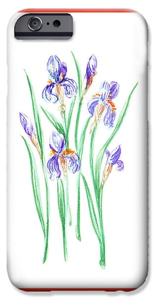 Iris iPhone Cases - Blue Iris Bunch iPhone Case by Irina Sztukowski