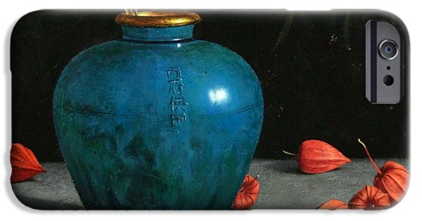Square Ceramics iPhone Cases - Blue Jar with Chinese Lanterns  iPhone Case by Bruno Capolongo