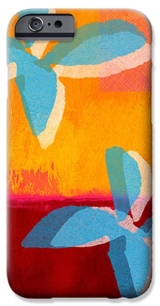Colorful Abstract iPhone Cases - Blue Jasmine iPhone Case by Linda Woods