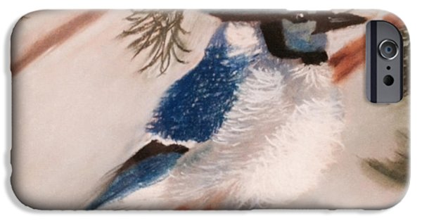 Snowy Pastels iPhone Cases - Blue Jay in Winter iPhone Case by Renee Michelle Wenker