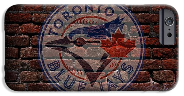 Business Digital Art iPhone Cases - Blue Jays Baseball Graffiti on Brick  iPhone Case by Movie Poster Prints