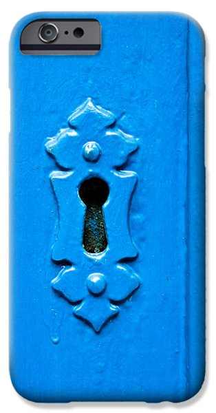 Shed iPhone Cases - Blue keyhole iPhone Case by Tom Gowanlock