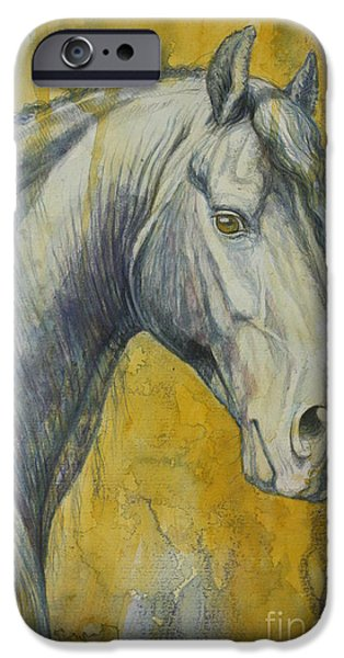 Horse Artist iPhone Cases - Blue Knight iPhone Case by Silvana Gabudean