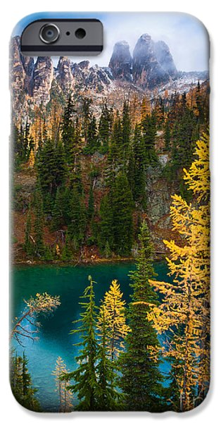 Blue Lake and Early Winter Spires iPhone Case by Inge Johnsson