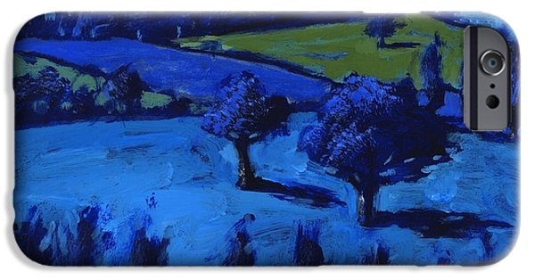 Rural iPhone Cases - Blue Landscape, 2009 Acrylic On Board iPhone Case by Paul Powis