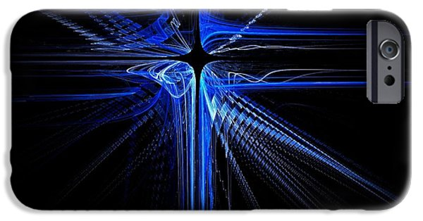 Business Digital Art iPhone Cases - Blue Laser Cross  iPhone Case by David Dehner