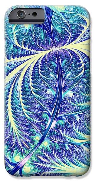 Leaf iPhone Cases - Blue Leaf iPhone Case by Anastasiya Malakhova