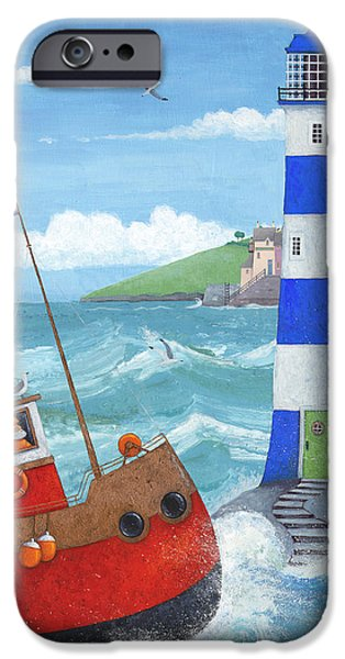 Lighthouse iPhone Cases - Blue Lighthouse iPhone Case by Peter Adderley