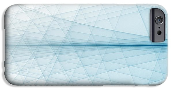 Cyberspace iPhone Cases - Blue Line Background iPhone Case by Dan Radi