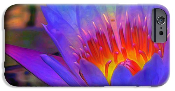 Best Sellers -  - Floral Digital Art Digital Art iPhone Cases - Blue Lotus iPhone Case by  Fli Art
