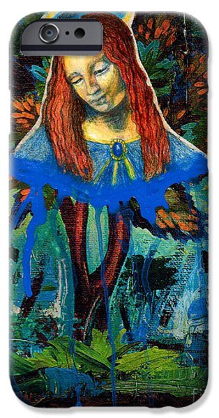 Spiritual Portrait Of Woman iPhone Cases - Blue Madonna In Tree iPhone Case by Genevieve Esson