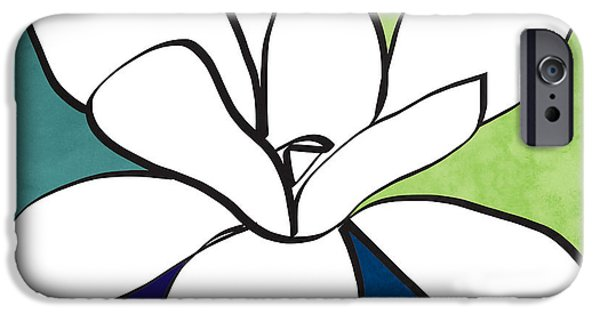 Magnolia iPhone Cases - Blue Magnolia 1- floral art iPhone Case by Linda Woods