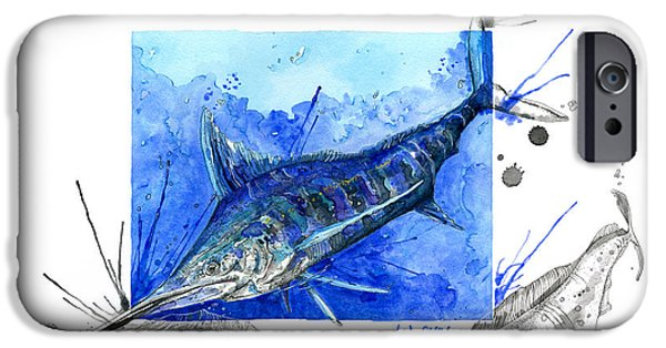 Marlin Azul iPhone Cases - Blue Marlin and Mahi iPhone Case by Amber M  Moran