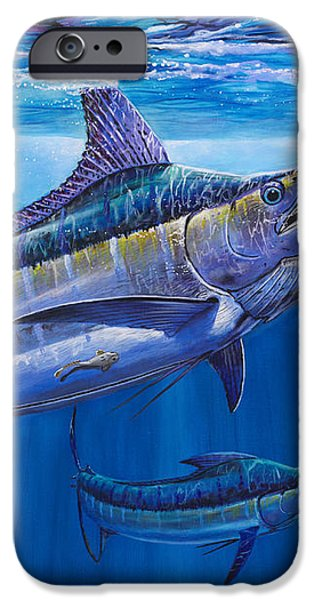 Blue Marlin Bite Off001 iPhone Case by Carey Chen