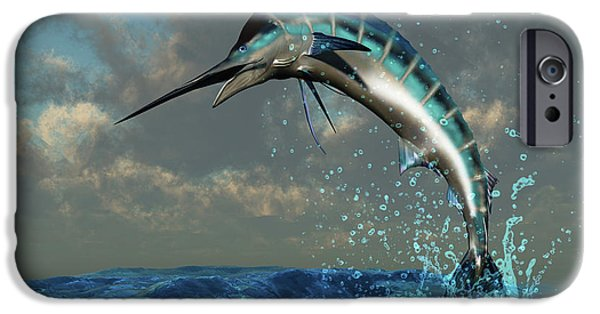 Concept iPhone Cases - Blue Marlin Splash iPhone Case by Corey Ford