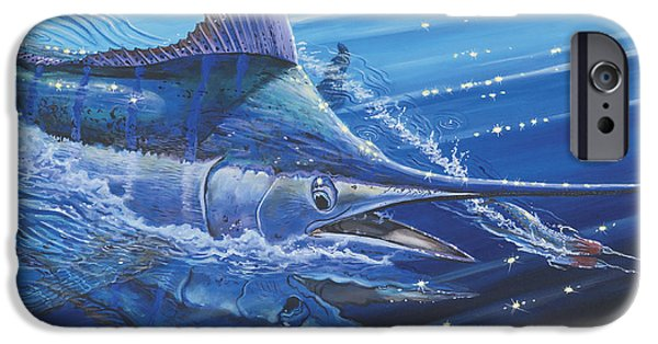 Vikings Paintings iPhone Cases - Blue Marlin strike Off0053 iPhone Case by Carey Chen
