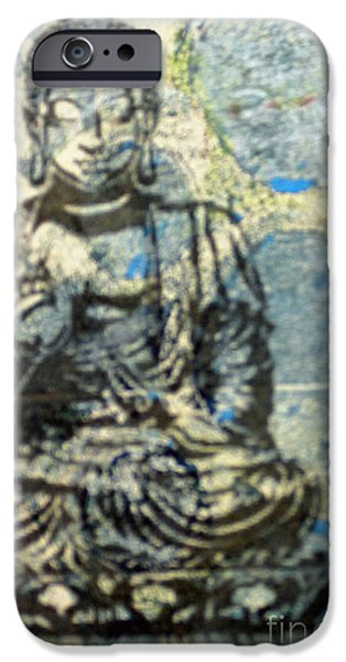 Tibetan Buddhism Mixed Media iPhone Cases - Blue Medicine Buddha iPhone Case by Lauri Jean Crowe