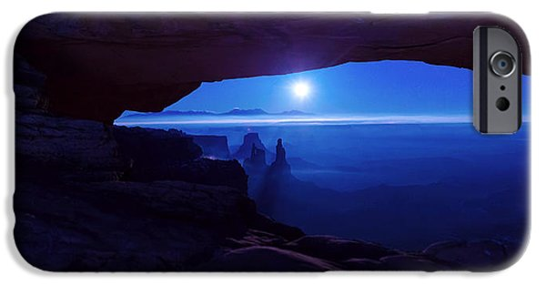 Moonscape iPhone Cases - Blue Mesa Arch iPhone Case by Chad Dutson
