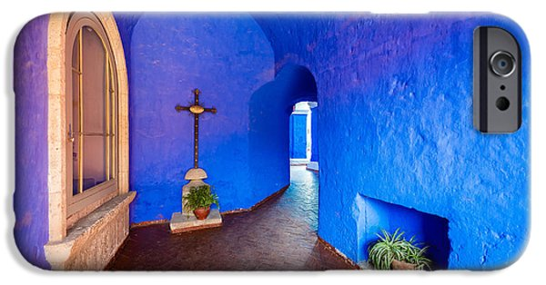 Catherine White Photographs iPhone Cases - Blue Monastery Interior iPhone Case by Jess Kraft
